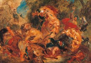 Lion Hunt, study by Eugene Delacroix