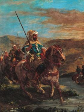 Moroccan Horsemen Crossing a Ford by Eugene Delacroix