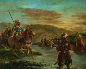Passage d'un gue au Maroc-Fording a river in Morocco. Canvas, 60 x 75 cm, 1858 R. F.1987. by Eugene Delacroix