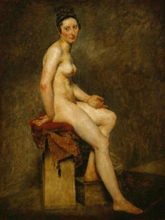 Sitting nude, also called Mlle. Rose (a professional model in the studio of Pierre-Narcisse Guerin) by Eugene Delacroix