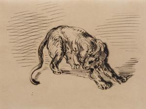 Tiger Frightened by a Snake, 1858 (Pen and Ink on Tracing Paper) by Eugene Delacroix