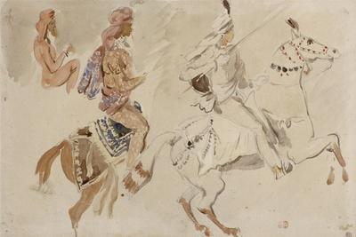 """Trois études de cavaliers orientaux allant sur la droite d'après """"Le Voyage en Inde pendant les"""
