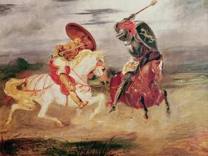 Two Knights Fighting in a Landscape, circa 1824 by Eugene Delacroix