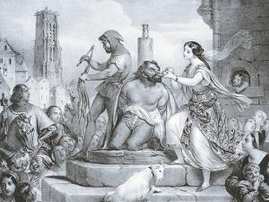 Esmeralda and Quasimodo, Illustration by Eugene Deveria