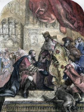 Reception of Columbus by Ferdinand and Isabella, Barcelona, 15th Century by Eugene Deveria