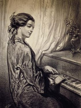 Woman Seated at Piano by Eugene Deveria