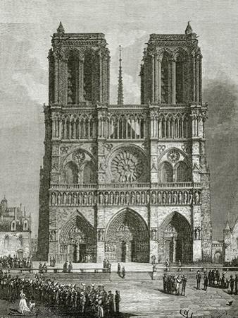 Notre Dame De Paris En 1642 - Illustration from Notre Dame De Paris, 19th Century