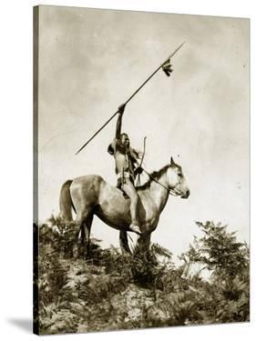 The Challenge (Yakama Warrior on Horseback, 1911) by Eugene Everett Lavalleur and L.V. McWhorter