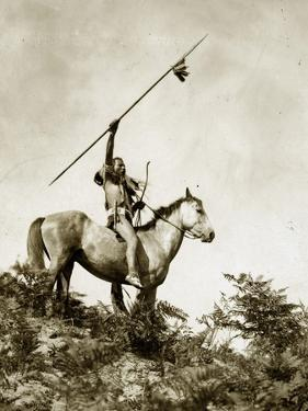 The Challenge (Yakama Warrior on Horseback, 1911) by Eugene Everett Lavalleur and L.V. McWhorter