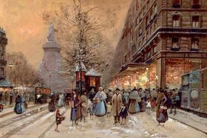 A Busy Boulevard Near the Place de La Republique, Paris by Eugene Galien-Laloue