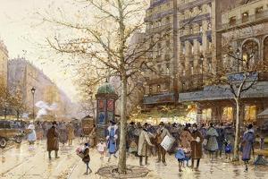 A Paris Street Scene by Eugene Galien-Laloue