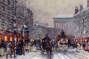 A Parisian Winter Scene by Eugene Galien-Laloue