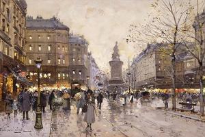 An Autumn Evening in Paris by Eugene Galien-Laloue