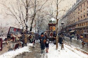 Bookstalls in Winter, Paris by Eugene Galien-Laloue