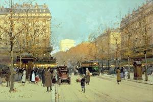 Boulevard Haussmann, in Paris by Eugene Galien-Laloue