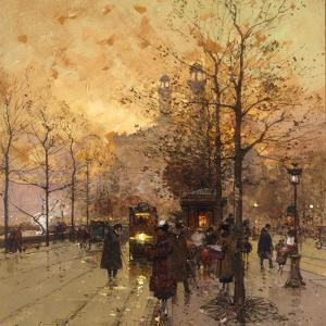Figures on a Parisian Street at Dusk by Eugene Galien-Laloue