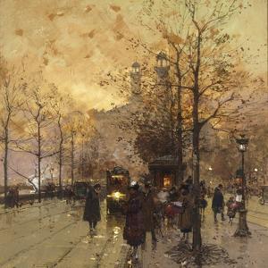 Figures on a Parisian Street by Eugene Galien-Laloue