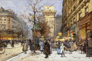 Figures on Le Boulevard St. Denis at Twilight by Eugene Galien-Laloue