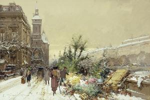 Flower Market; Marche Aux Fleurs by Eugene Galien-Laloue