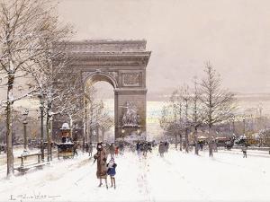 L'Arc De Triomphe by Eugene Galien-Laloue