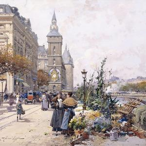 Le Quai Aux Fleurs and Hotel by Eugene Galien-Laloue