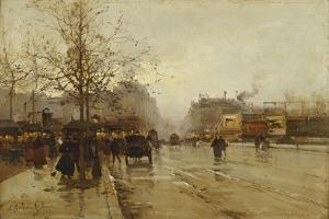 Les Boulevards, Paris by Eugene Galien-Laloue