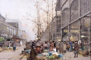 Les Halles and St. Eustache by Eugene Galien-Laloue