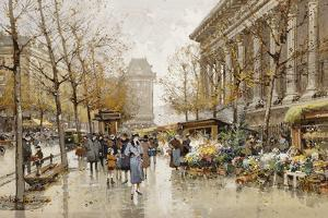 Paris Street in Autumn by Eugene Galien-Laloue