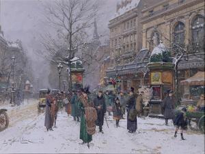 Parisian Street Scene by Eugene Galien-Laloue