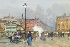 Place De L'Opera, Paris by Eugene Galien-Laloue