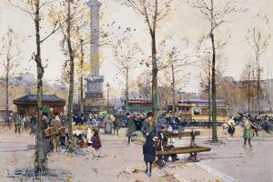 Place De La Bastille, Paris by Eugene Galien-Laloue