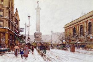 Place De La Bastille by Eugene Galien-Laloue