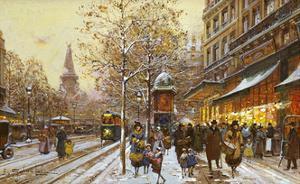 Place de la Republique, Paris by Eugene Galien-Laloue