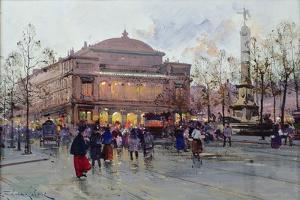 Place Du Chatelet by Eugene Galien-Laloue