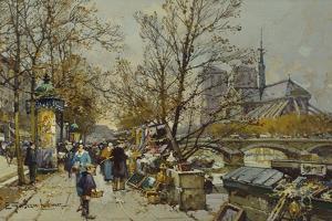 The Rive Gauche, Paris, with Notre Dame Beyond by Eugene Galien-Laloue