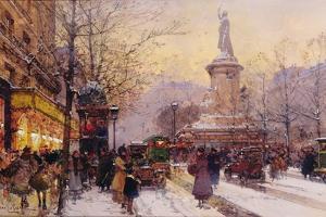 Winter Paris Street Scene by Eugene Galien-Laloue