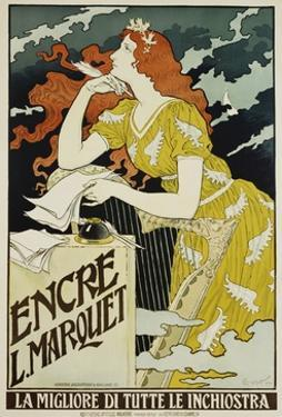 Encre L. Marquet Writing Products Poster by Eugene Grasset