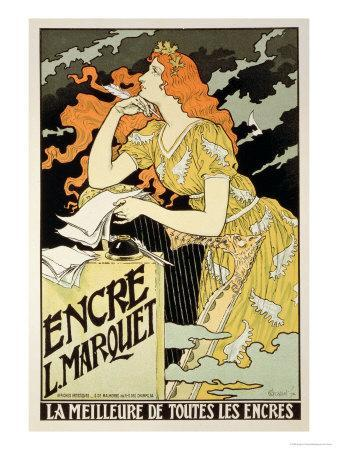 """Reproduction of a Poster Advertising """"Marquet Ink,"""" 1892"""