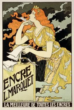 """Reproduction of a Poster Advertising """"Marquet Ink,"""" 1892 by Eugene Grasset"""