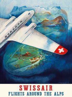 Flights around the Alps - Swissair by Eugene Häfelfinger