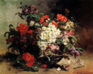 Basket of Flowers by Eugene Henri Cauchois