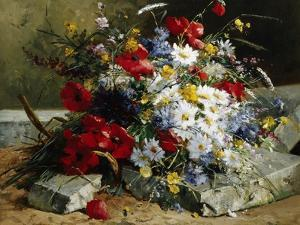 Daisies, Cornflowers and Poppies by Eugene Henri Cauchois