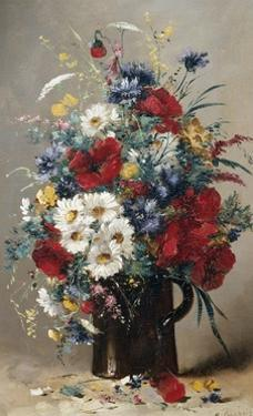 Still Life of Poppies, Daisies and Cornflowers by Eugene Henri Cauchois