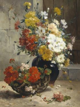 Still Life of Summer Flowers by Eugene Henri Cauchois