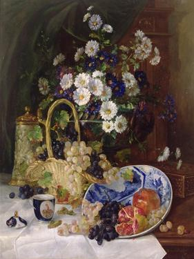 Still Life with Flowers and Fruit by Eugene Henri Cauchois