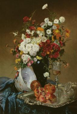 Still Life with Flowers and Pomegranates by Eugene Henri Cauchois