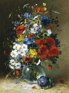 Summer Flowers in a Glass Vase by Eugene Henri Cauchois