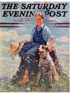 """Boy and Dog in Nature,"" Saturday Evening Post Cover, June 11, 1932 by Eugene Iverd"