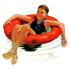 """Boy in Inner Tube,""August 1, 1936 by Eugene Iverd"