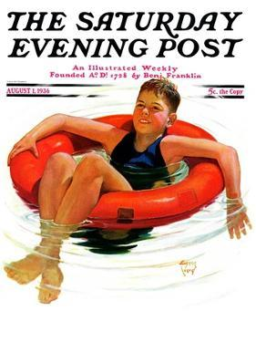 """Boy in Inner Tube,"" Saturday Evening Post Cover, August 1, 1936 by Eugene Iverd"